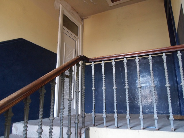 White PVC door and bannister at Number 21, The Hedges, Camelon, Falkirk