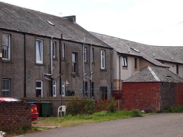 Rear of a row of houses on The Hedges, Camelon, Falkirk